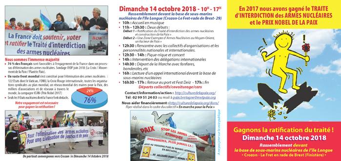 depliant pour le rassemblement du 14 octobre 2018