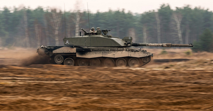 Tank moving quickly during exercise in Poland