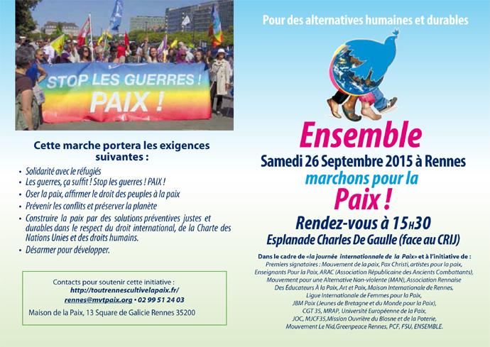 marche pour la paix à Rennes 2015