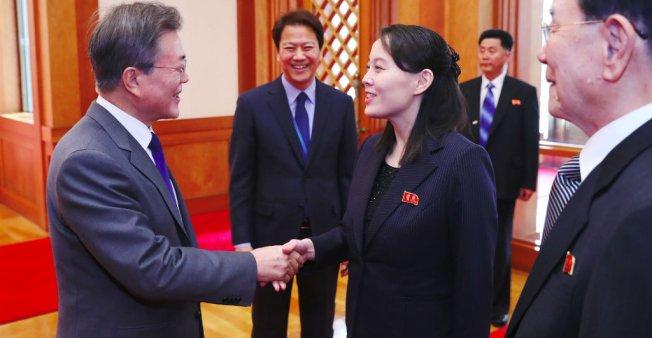 Kim Jong Un et Moon Jae-in ensemble à Pyongyang