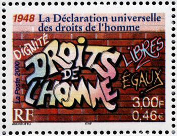 timbre de Claude Andreotto, 1948 droits de l'homme