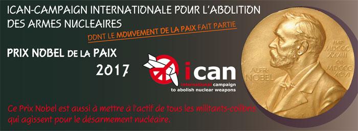 Nobel 2017 : ICAN et Mouvement de la Paix