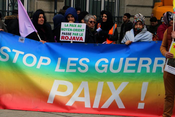 manif de solidarité kurdistan à Rennes