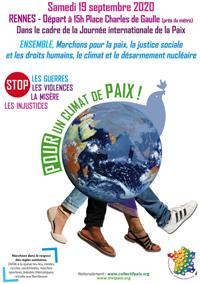 affiche - marche pour la paix le 19 septembre 2020 à Rennes
