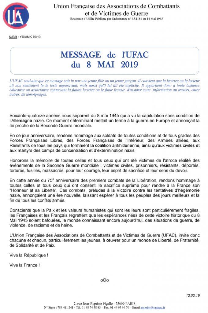 message de l'UFAC du 8 mai 2019