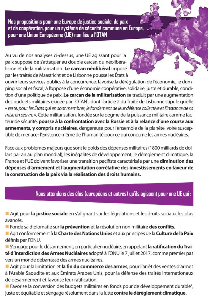 Nos propositions pour une Europe de justice sociale, de paix et de coopération