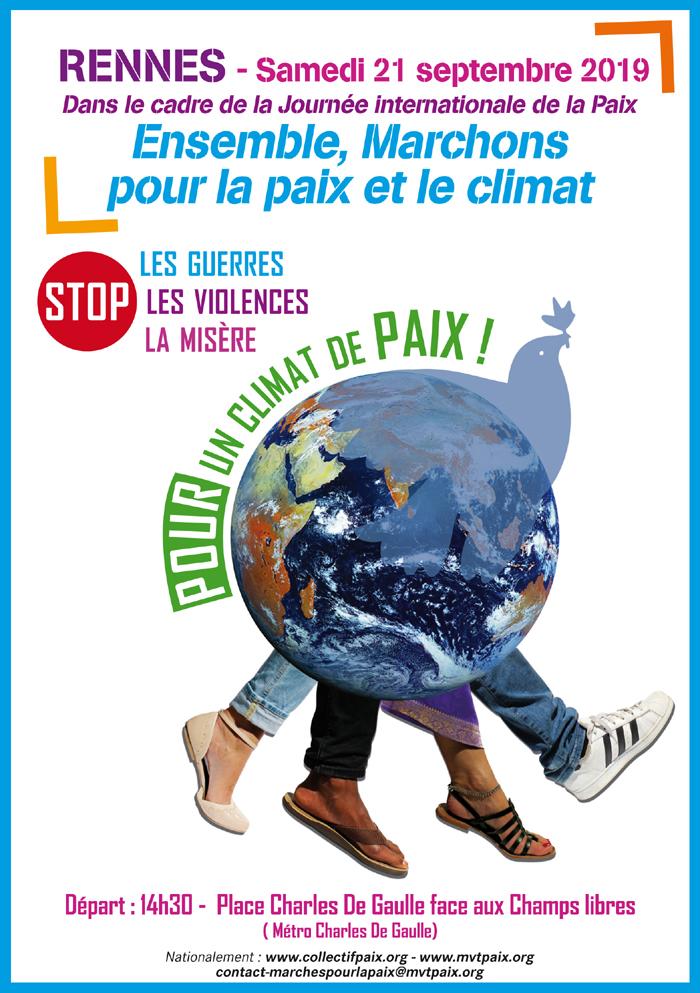 flyer pour le marche du 21 septembre 2019 à Rennes pour la paix et le climat