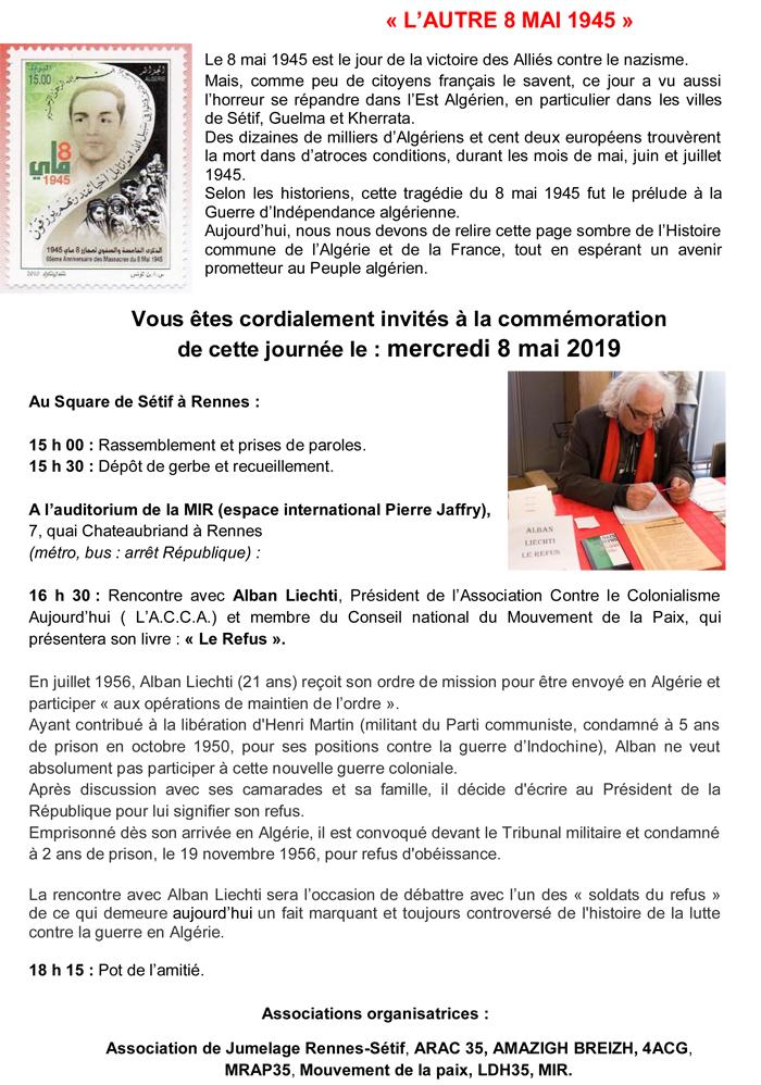 commemoration de Sétif, 8 mai 1945-2019